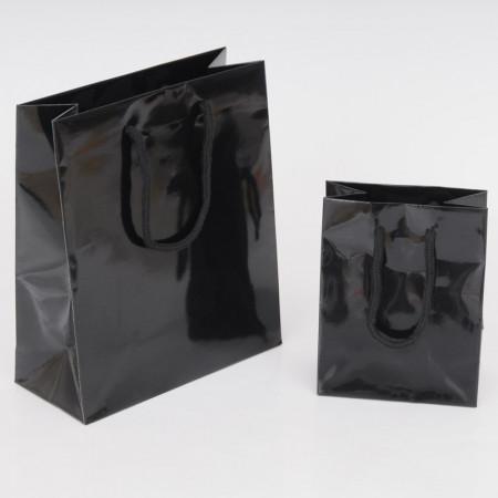 MINI BAG Plastificato Nero Lucido con Maniglie in Cordino di Cotone 4 Nodi