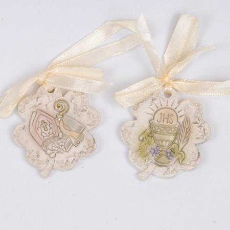 Quadrifoglio ceramica con fiocco raso comunione/cresima