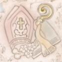 Foglia ceramica con fiocco raso comunione/battesimo
