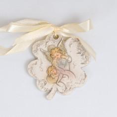 Quadrifoglio ceramica con fiocco raso battesimo