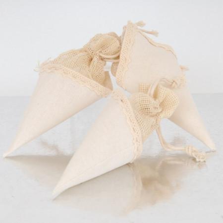 Coni Confetti di stoffa con chiusura a sacchetto