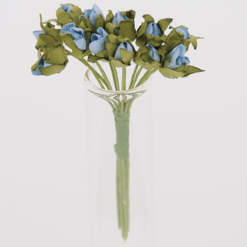 Mini Roselline in carta azzurre