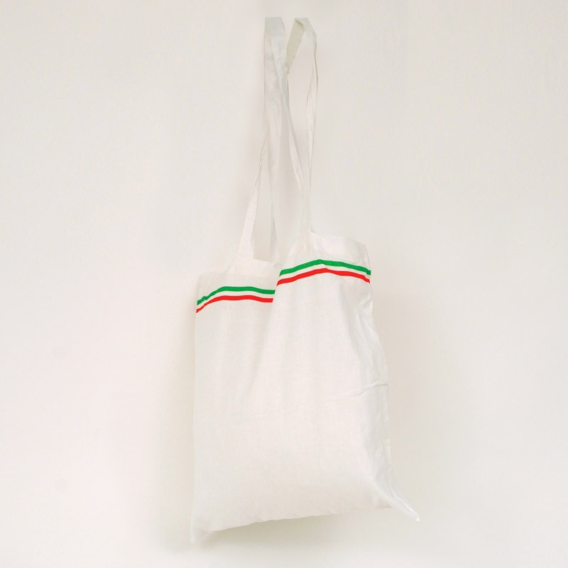 Shopper in cotone con tracolle bandiera Italia