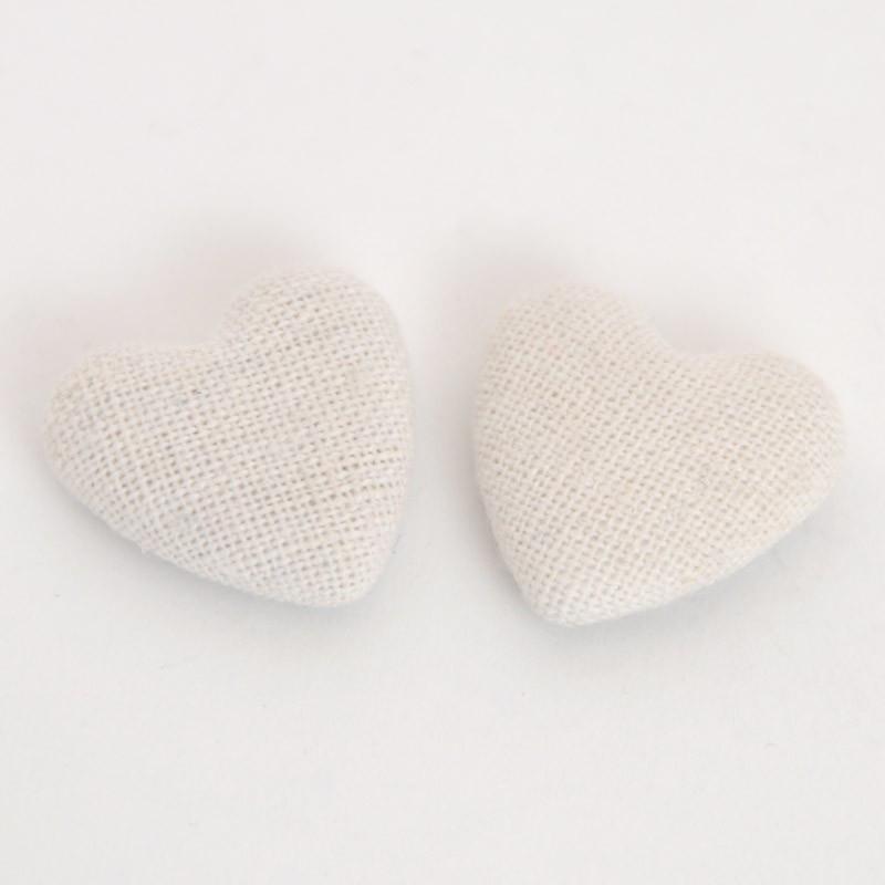 Cuori stoffa adesivi bianchi