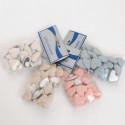 Cuori stoffa adesivi confezioni