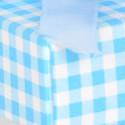 Bicchierino trasparente con coperchio cartoncino azzurro porta confetti rosa
