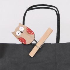 Gufetto in legno con molletta chiudi pacco