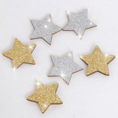 Stelle in Legno Glitterate adesive
