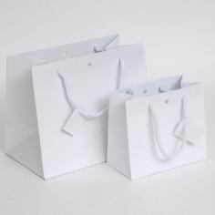 Borsine WEDDING BAG Deluxe in Carta Plastificata Opaca Bianca con tag
