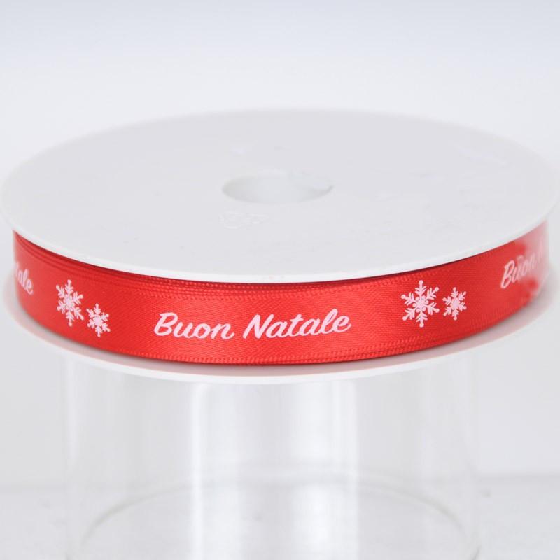 Nastro di raso Buon Natale rosso