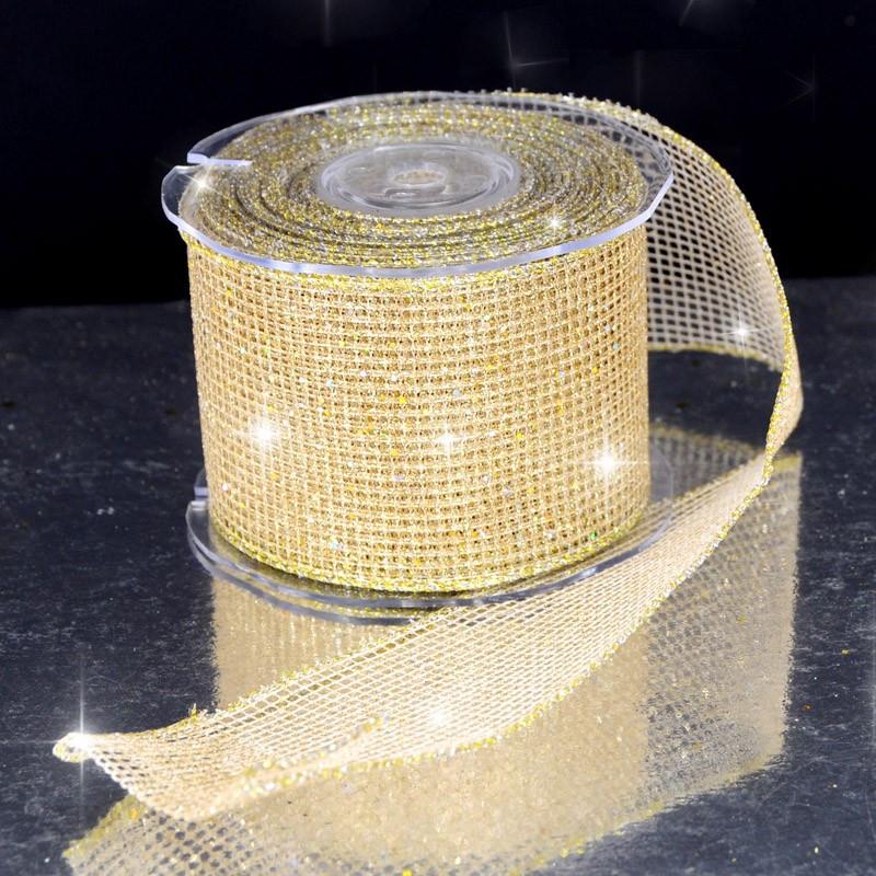 Nastro Rete Glitter animato oro