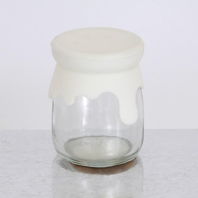 Vasetti vetro con tappo in silicone bianco