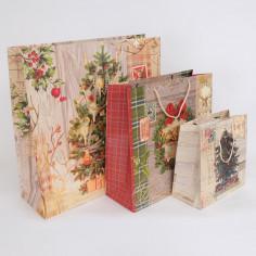 Set Tre Borse Carta con cordino Natale Vintage