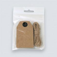 Etichette cartoncino Avana con cordino juta
