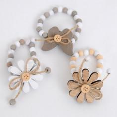 Chiudipacco a BRACCIALETTO ELASTICO in Legno con Decoro Farfalla o Fiore in Confezione da 3 pz.