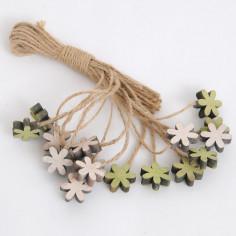 Fiori in legno con cordino juta 30 cm