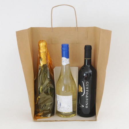 Sacchetto Vini Carta Rustico Avana 2-3 Bottiglie con Separatore inserito