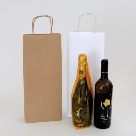 Shopper Vini Carta Bianca e Avana 16+7x39 cm