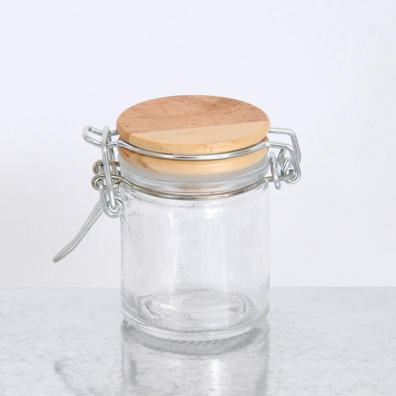 Vasetti di Vetro ermetico tappo in legno piccolo
