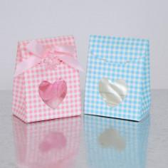 Scatolina con finestra cuore a righe Confezione da 10 Scatoline