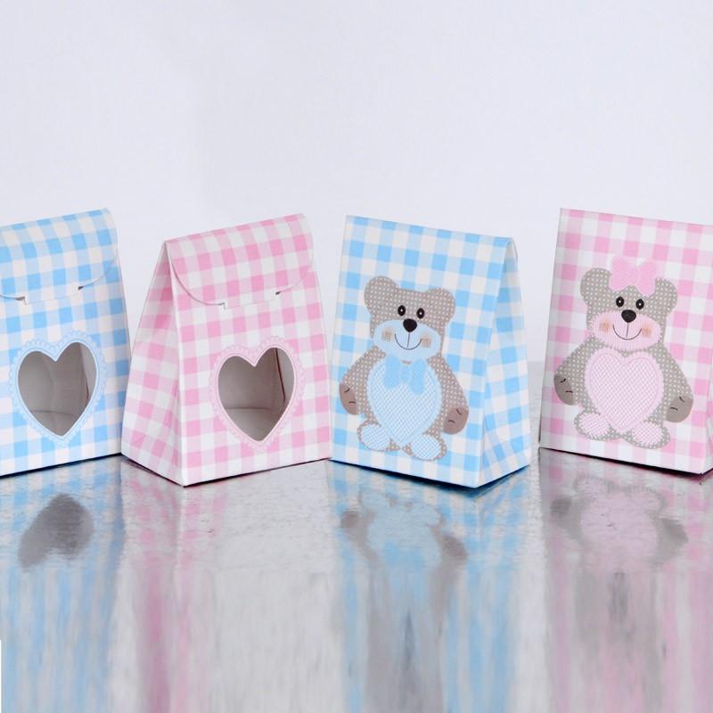 Scatolina portaconfetti con orsetto e finestra trasparente a forma di cuore