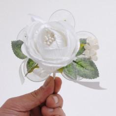 Bouquet Rosa Gioia con racchette portaconfetti, Confezione da 6 Bouquet
