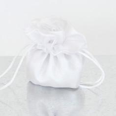 Sacchetto Bomboniera doppia stoffa chiusura a rosa