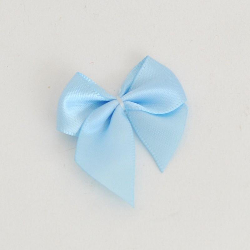 Fiocchetti in raso con adesivo azzurri