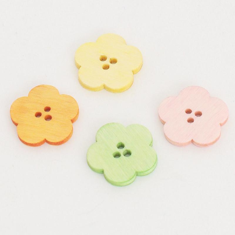 Fiore Bottone di Legno colorato