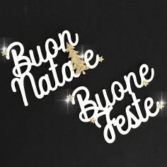 Scritte BUON NATALE - BUONE FESTE Bianche con Glitter in Confezione da 12pz