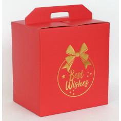 Scatole Panettone+Bottiglie Rosso con Stampa BEST WISHES in Oro a Caldo