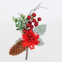 Pick Stella di Natale Bacche Pigne Pino