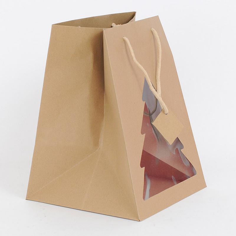 Shopper con albero vetrina Portapanettone avana