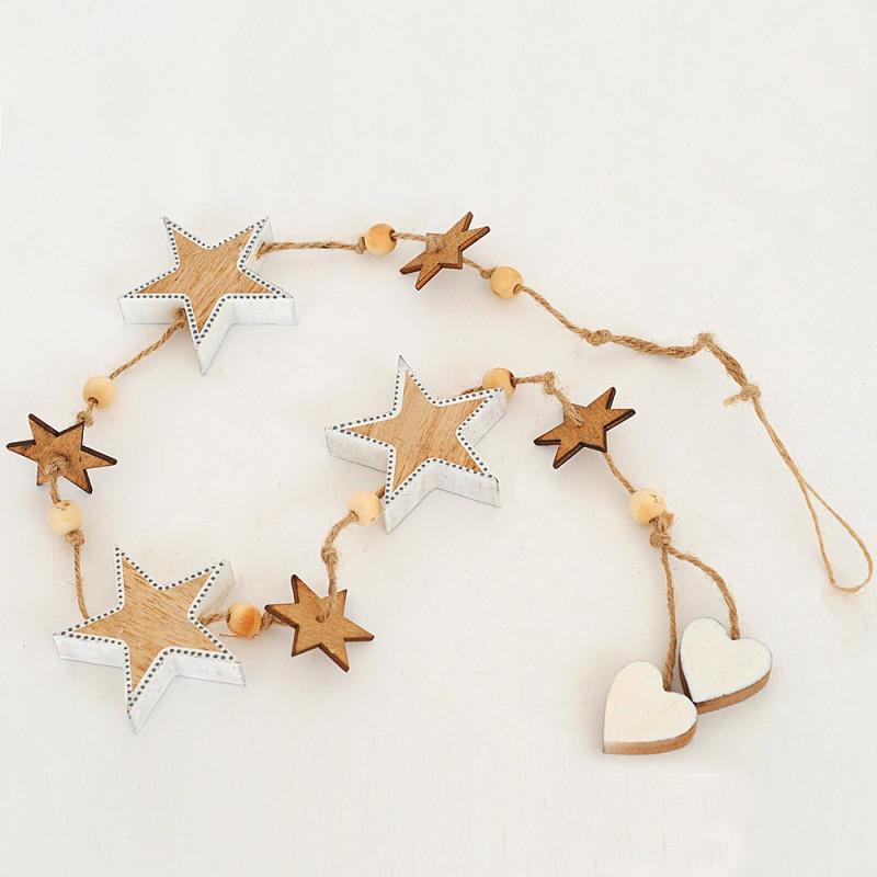Pendenti cordino e legno stelle