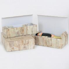 Cantinette in Cartoncino con Separatori Interni da 1, 2, 3 Bottiglie, Stampa WOOD