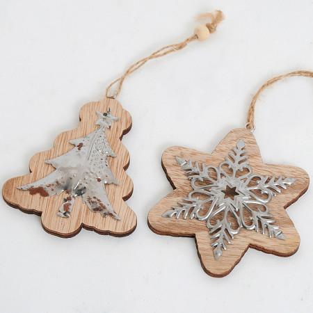Pendagli Stella e Albero legno con metallo lavorato
