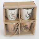 Box con 4 Mug in ceramica dipinte