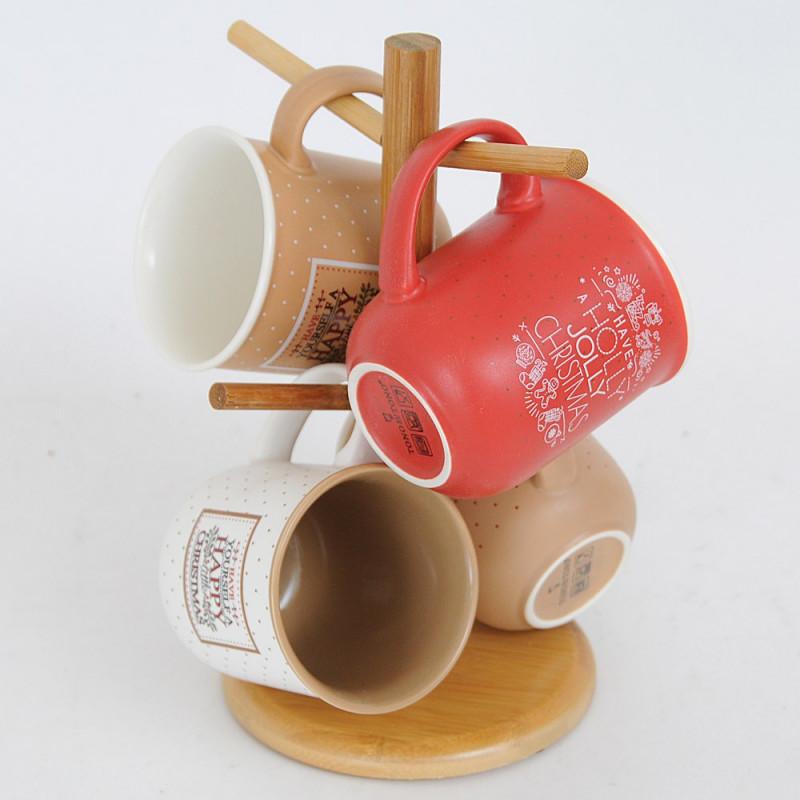 Display in legno con 4 Mug in ceramica dipinte