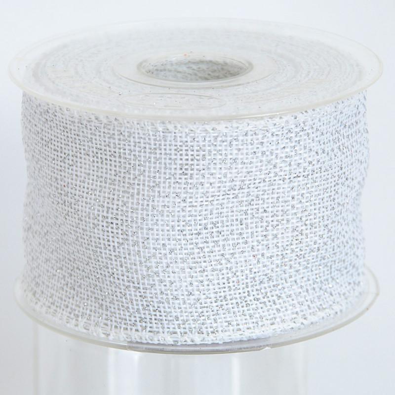 Nastro Fleg in tessuto brillantato bianco