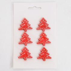 Stickers da 6 Alberi Natale Adesivi Glitterati