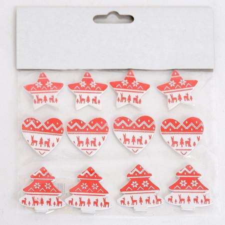 Blister da 12 Stickers Adesivi RENNE Natale assortiti