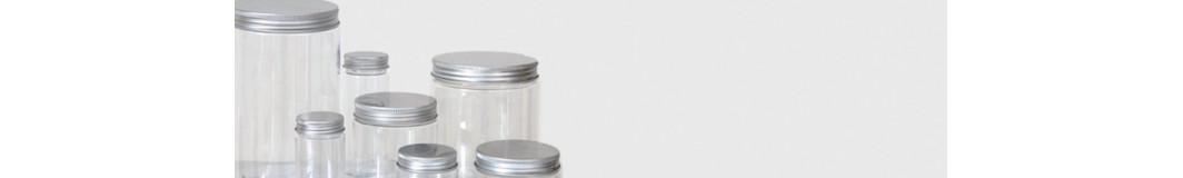 vasetti e barattoli in  PET con tappo in alluminio