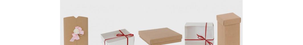 scatole regalo in cartoncino bianche, avana, avorio e colorate