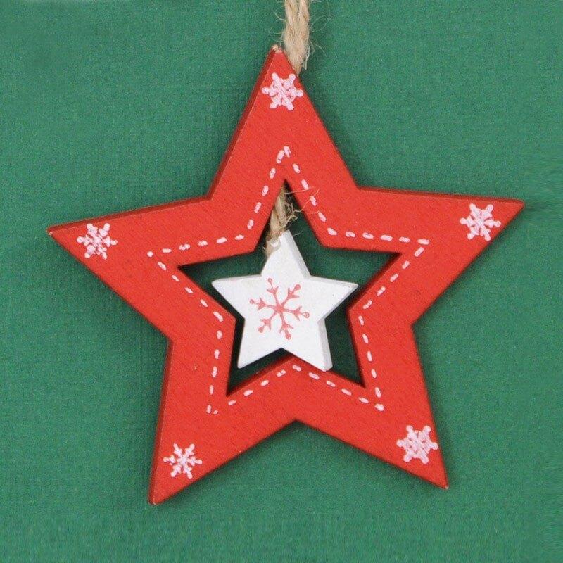 Stella Legno rossa/bianca cm8x8x0.5