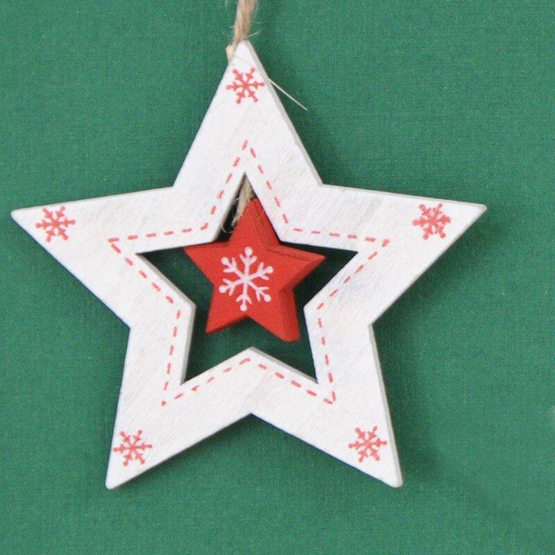Stella Legno bianca/rossa cm8x8x0.5