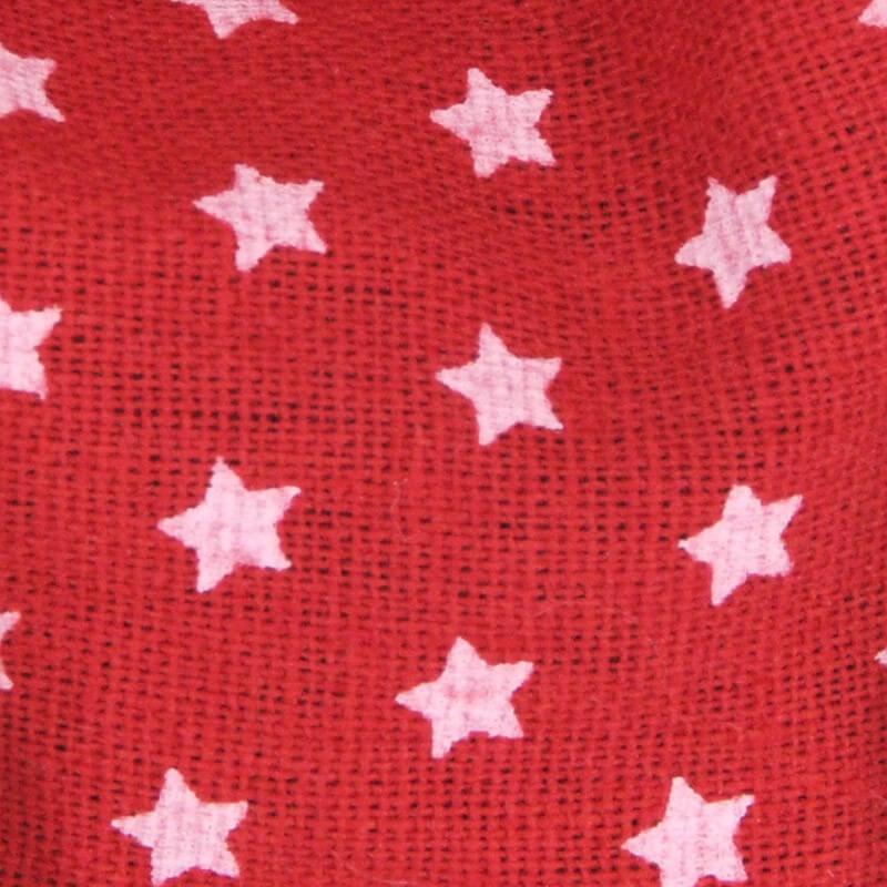 rosso con stelle bianche